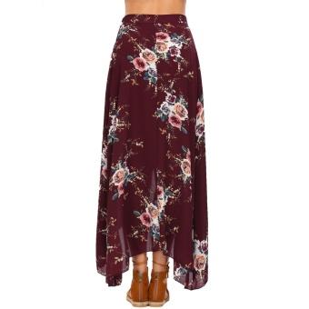 Women Summer Bohemian Style Chiffon Floral Print Side Split Skirt Wine Red - intl - 4