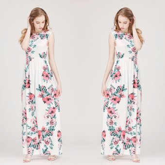 Women Summer Boho Floral Long Maxi Evening Party Cocktail BeachDresses Sundress White - intl