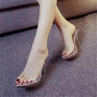Women Summer Fashion Transparent High Heel Sandals Size 35-39(silver) - intl - 4