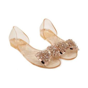 Women Summer Flat Sandals Jelly Sandals Open-toe Beach Sandals Gold - 2