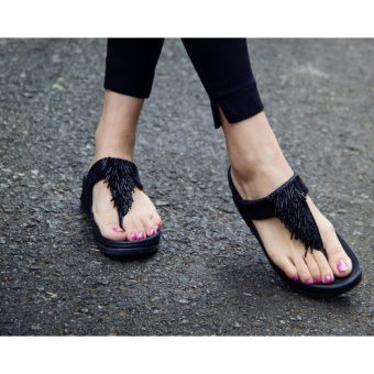 Women Summer Tassel Thong Flip Flops Sandals Shoes Beach CasualSlippers black 36-39