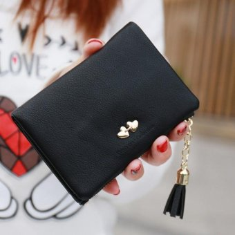 Women Tassel Wallet Clutch Leather Short Purse Black - intl
