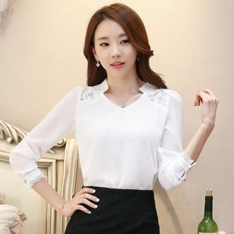 Women Tops Long Sleeve Casual Lace Chiffon Blouse Female V-Neck Work Wear Solid Color Office Shirts For Women 3XL White - intl - 2