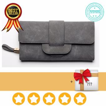 Women Wallets Long Female Three Fold Clamshell Leather Purse High Quality (grey)