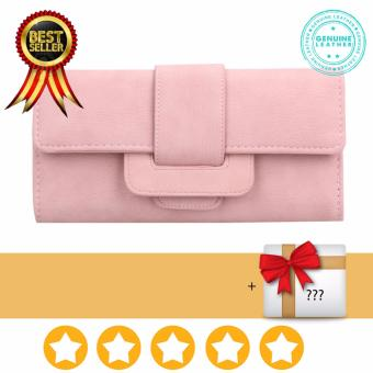 Women Wallets Long Female Three Fold Clamshell Leather Purse High Quality (pink)