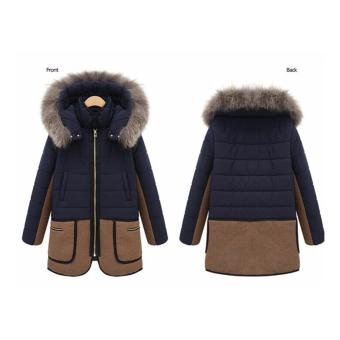 Women warm down parkas winter long coat Overcoat Jacket Fashion Hooded thick Coat Jacket-Dark Blue - intl - 2