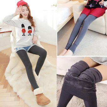 Women Winter Stretchy Leggings Warm Fleece Lined Tights Pants (Grey) - intl