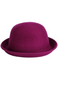 Women Wool Vintage Fold Brim Bowler Derby Top Hat Cap (Purple Red) - picture 2