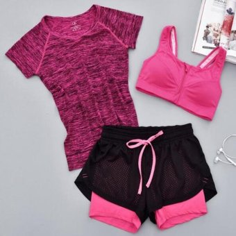 Women Yoga Set Solid Short Sleeved T-shirt + Zipper Pad Bra +Hollow Out Shorts 3Pcs Suit Quick Dry Sport Running Traning Set HotPink - intl