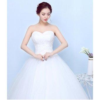 Women's Ball Gown Bridal Sweetheart Lace Wedding Dress-White - intl - 2