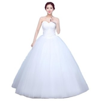 Women's Ball Gown Bridal Sweetheart Lace Wedding Dress-White - intl