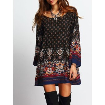 Women's Bohemian Casual Tunic Dress - Vintage Printed Ethnic Summer Boho Shift Tunic Loose Dress Tops (Black) - intl