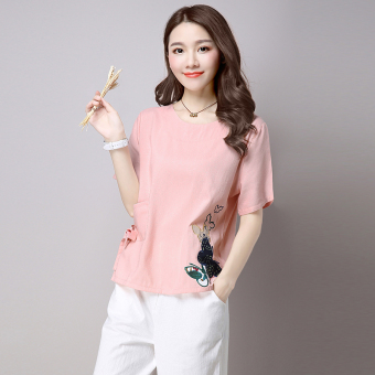 Women's Butterfly Embroidered Linen Short Sleeve T-Shirt - White - Pink (Pink color)