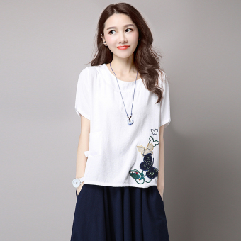 Women's Butterfly Embroidered Linen Short Sleeve T-Shirt - White - Pink (White)