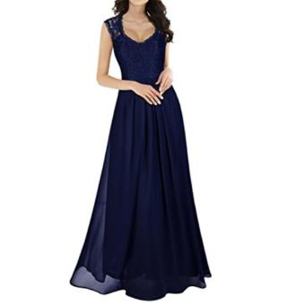 Women's Casual Deep- V Neck Sleeveless Vintage Maxi Dresses Navy Blue - intl