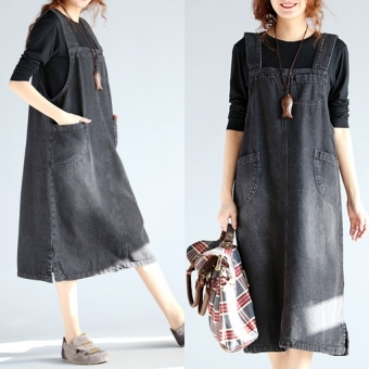 Women's Casual Denim Plus Size Midi Overall Skirt (Black)