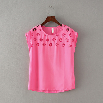 Women's Chiffon Cutout Free Size Short Sleeve Bottom Shirt - Bright Pink - Yellow