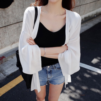 Women's Chiffon Loose Cardigan under Air Conditioner - White