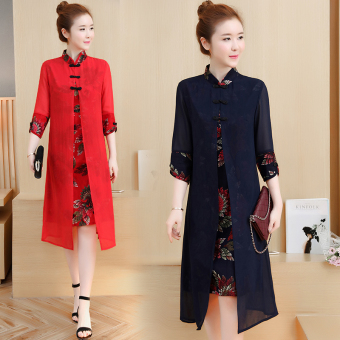 Women's Chinese-style Floral Print Cheongsam Midi Dress (Red)