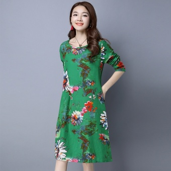 Women's Chinese-style Print Round Neck Ramie Cotton Fabric Long Sleeve Dress (Green)