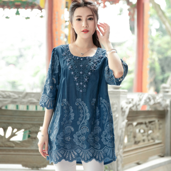 Women's Chinese-style Retro Embroidery Cutout Round Neck Top (Sapphire blue color)