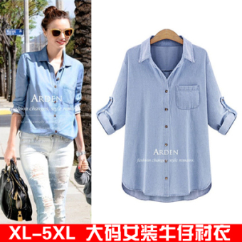 Women's Denim Plus Size Shirt - Light Blue - Dark Blue (Dark blue color deep blue)
