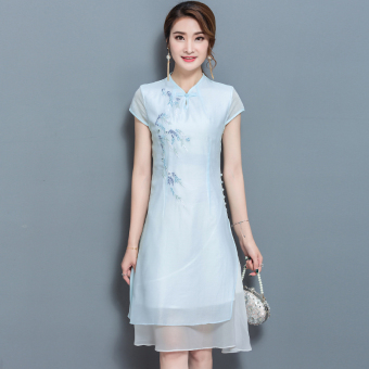 Women's Embroidered Cheongsam Ramie Cotton Fabric A Line Midi Dress