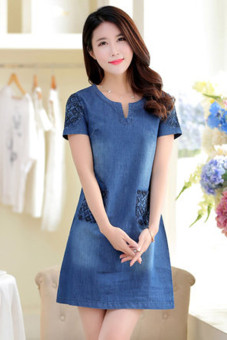 Women's Embroidery Denim A-line Dress