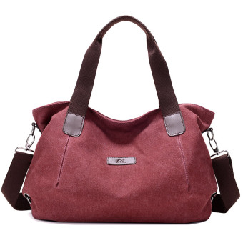 Women's European and American Casual Large Capacity Crossbody Bag (Purple coffee color)