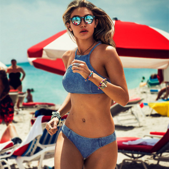 Women's European and American High Collar Halter Denim Bikini
