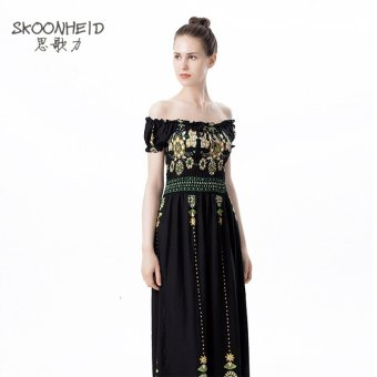 Women's Fashion Long Dress Off the Shoulder Print Maxi Dress Cotton Dress- Black and Yellow - intl