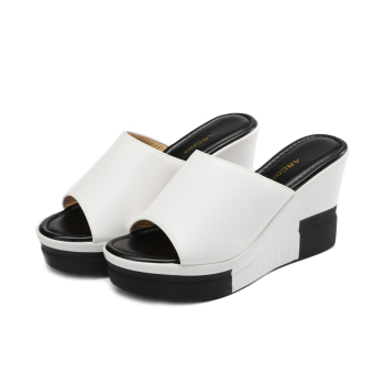 Women's Fashion Wedge Platform Faux Leather Slip-on Sandal (White)