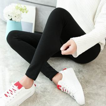 Women's Fleece-lined Cotton High Waist Stretch Skinny Pants Color Varies (Black)