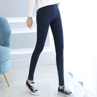 Women's Fleece-lined Cotton High Waist Stretch Skinny Pants Color Varies (Dark blue color)
