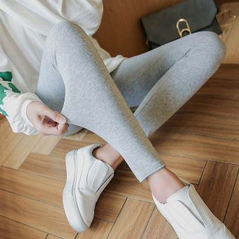 Women's Fleece-lined Cotton High Waist Stretch Skinny Pants Color Varies (Light gray color)