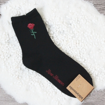 Women's Four Seasons solid color socks tube socks (Black)