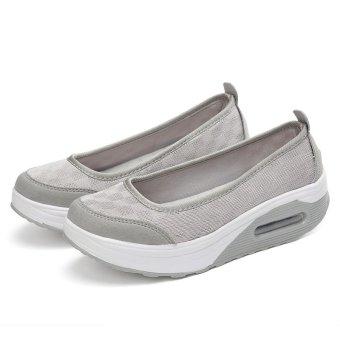Women's Height Increasing Shoes Slip On Casual Sneaker One Slip Loafers AIWOQI(GREY)(EU:36)(Intl) - intl - 5