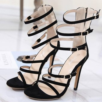 Women's High Heels Fashion Party Sandals with Cut Out Black - intl