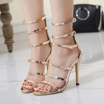 Women's High Heels Fashion Party Sandals with Cut Out Gold - intl