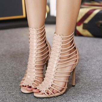 Women's High Heels Fashion Sandals with Cut Out Apricot - intl