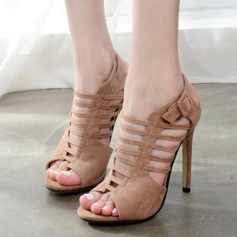 Women's High Heels Korean Sandals with Cut Out Apricot - intl