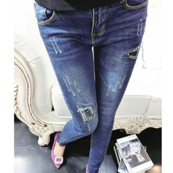 Women's High-waisted Skinny Full Length Pants Slim Jeans With Scratched - intl