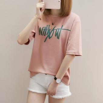 Women's Hongkong-style Stylish Round Neck Short Sleeve T-Shirt (1771 (rust Hong))