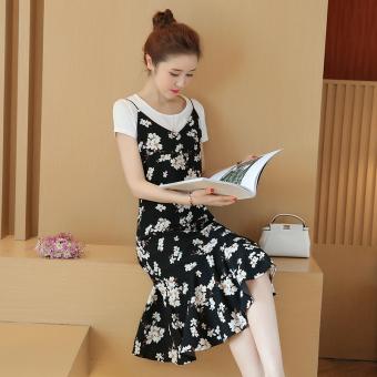 Women's Korean-style 2-pack Floral Flouncing Chiffon Sleeveless Dress (White T-shirt)