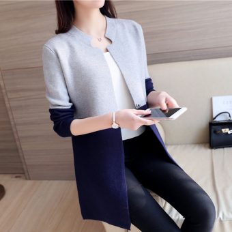 Women's Korean-style Assorted Color Long Knitted Shirt (Dark blue color)