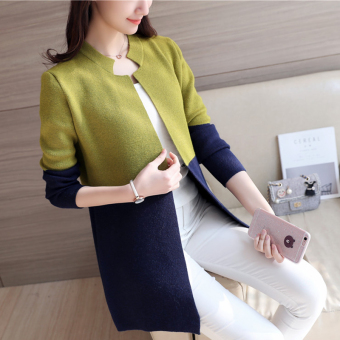 Women's Korean-style Assorted Color Long Knitted Shirt (Green)