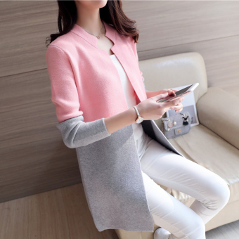 Women's Korean-style Assorted Color Long Knitted Shirt (Pink)