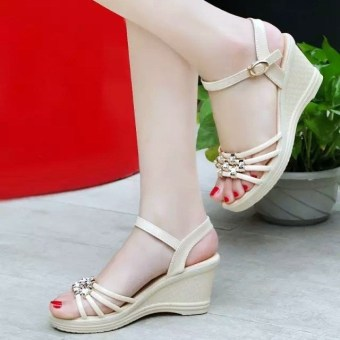Women's Korean-style Casual Rhinestone Platform High Heel Sandal (Off-white color)