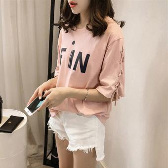 Women's Korean-style Casual Short Sleeve T-Shirt (Black) - 2