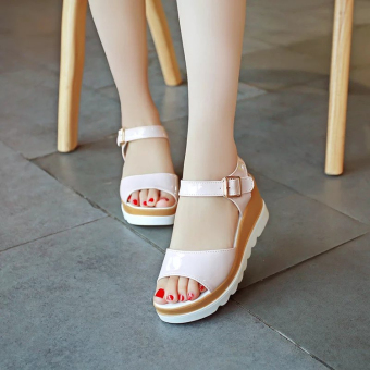 Women's Korean-style Cute Platform Middle Heel Sandal (Pink)